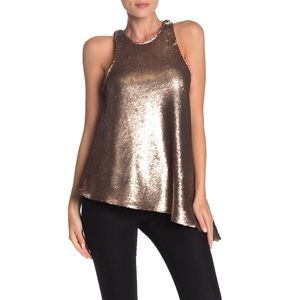 Cinq a Sept Sequin Dylan Tank Top Champagne Gold